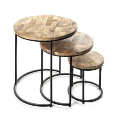 Set van 3 bijzettafels Leo - hout/metaal