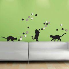 Muurstickers 3D Fancy Cats - schuimstickers