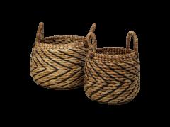 Mandenset - naturel / zwart - waterhycinth - set van 2