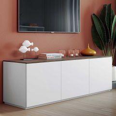 Dressoir Join 180cm laag model met 3 deuren - mat wit/walnoot