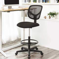 Hoge bureaustoel met verstelbare voetring Ines - zwart