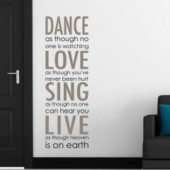 Muursticker Dance, Love, Sing, Live