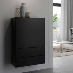 Commode Damien 50cm met deur & 2 lades - zwart