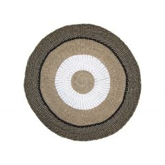 Vloerkleed Mailbu - ø150 cm - raffia / zeegras - naturel / wit / zwart