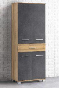 Kolomkast Kao 1 lade & 4 deuren - oude eik/grafietgrijs