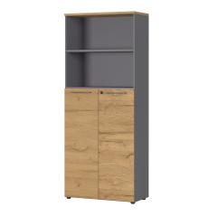 Archiefkast Osmond 80cm met 2 deuren & 2 open vakken - eik/grafiet