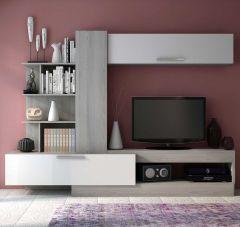 Tv-meubel Zomi 260cm - grijze es/wit