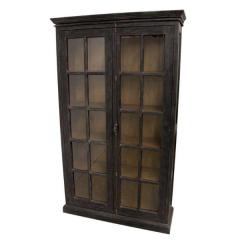 Vitrinekast Durham 130cm met 2 deuren - zwart