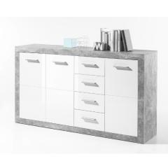 Dressoir Stanno 152 cm met 3 deuren & 4 lades - beton/wit