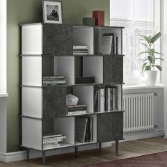 Boekenkast Fame - wit/beton