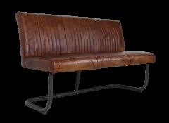 Eetbank Nevada - 145 cm - buffelleder / metaal - cognac