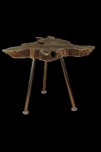 Salontafel Root - ø50-60 cm - oud teak / RVS