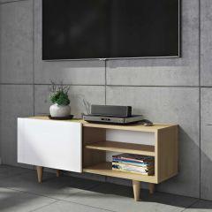Tv-meubel Ruiz 120cm - eik/wit