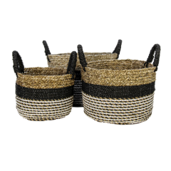 Set van 3 manden Malibu - zwart/natuur/wit - raffia/zeegras