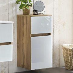 Badkamerkastje Helina 40cm 1 deur & 1 lade - eik/wit