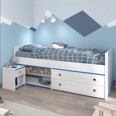 Kajuitbed Smoozy 90x200 met 2 lades - wit/roze of wit/blauw