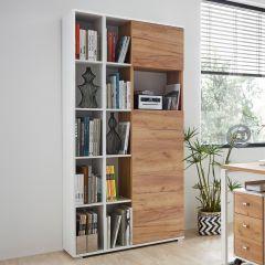 Boeken- en opbergkast Lloris met 2 deuren - wit/eik