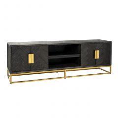 Tv-meubel Bony 185cm 4 deuren - zwart/goud