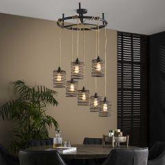 Hanglamp Eres met 7 lampenkappen - grijs