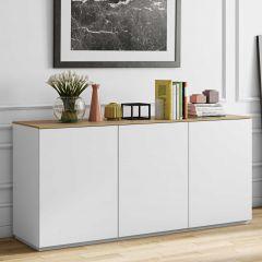 Dressoir Join 180cm hoog model met 3 deuren - mat wit/eik