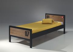 Kinderbed Alex Industrieel 90x200 cm - bruin/zwart