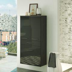 Badkamerkast Florent 60cm 2 deuren & 3 lades - grafiet/hoogglans grijs