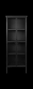 Vitrinekast Manhattan - metaal / glas - zwart