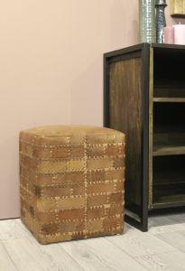 Poef Patchwork - 33x33 cm - leder - vintage cognac