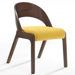 Set van 2 stoelen Ulrike - walnoot/geel