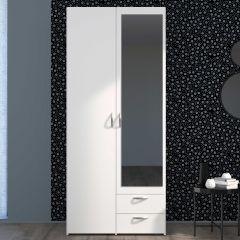Opbergkast Salvador spiegel, 2 deuren & 2 laden - wit