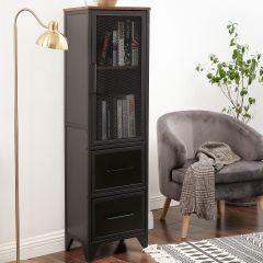 Vitrinekast Jaxx 3 deuren - rustiek bruin/zwart