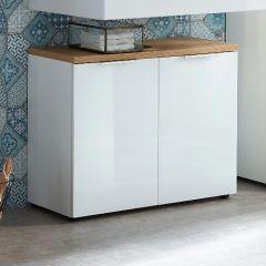 Wastafelonderkast Sepp met 2 deuren - wit/eik