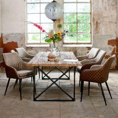 Eettafel Kensington 200x100 industrieel - bruin/zwart