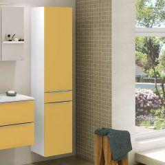 Kolomkast Hansen 40cm 2 deuren & 1 lade - geel/wit