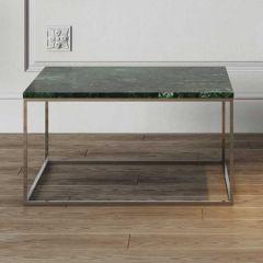 Salontafel Gleam 75x75 - groen marmer/chroom
