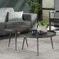 Set van 2 salontafels Lima ø76 industrieel - grijs