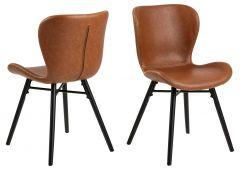 Set van 2 kunstlederen stoelen Tilda met schuine poten - cognac/zwart