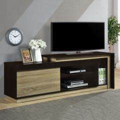 Tv-meubel Munis 180cm met 1 deur - zwart/eik