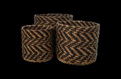 Mandenset - zwart / naturel - waterhyacint - set van 3