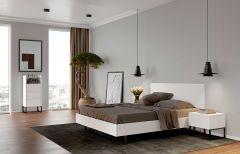 Bed Mara 160x200 met metalen pootjes, rechthoekig hoofdbord & lattenbodem - wit