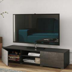 Tv-meubel Podium 140 cm - zwart/beton