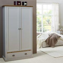 Kledingkast Silia 104cm met 2 deuren & lade - grijs/natuur
