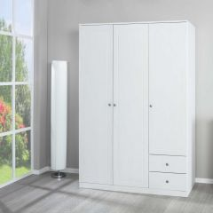 Kledingkast Marega 138cm 3 deuren & 2 lades - wit