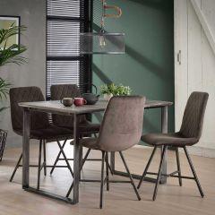 Eettafel 120cm 45° frame - 3D betonlook grijs
