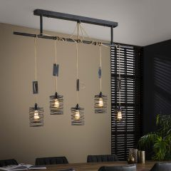 Hanglamp Eres met 5 lampenkappen - grijs