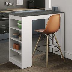Bartafel Aravis 115x50 met opbergruimte - wit/beton