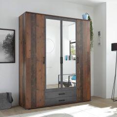 Kledingkast Ellis 160cm met 4 deuren 2 lades & spiegel - old style/beton