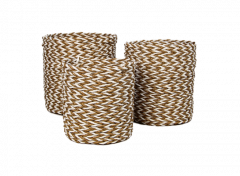 Mandenset - raffia / zeegras - naturel / wit - set van 3