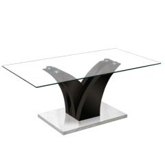 Salontafel Irina met glazen blad - hoogglans zwart