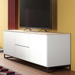 Dressoir Join 180cm met metalen onderstel, 2 deuren en 2 laden - mat wit/eik